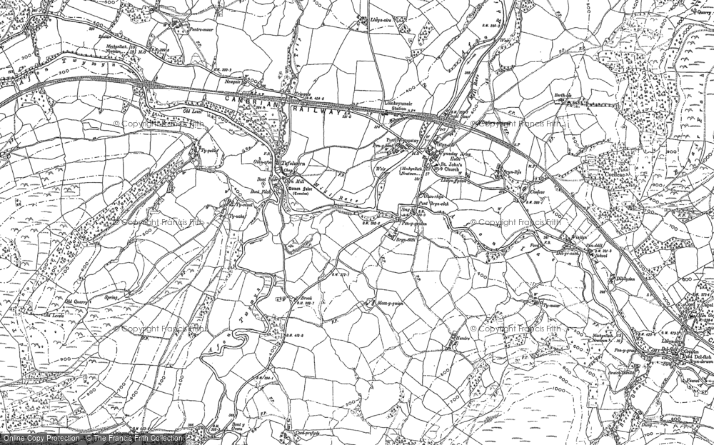 Old Map of Historic Map covering Afon Rhiw Saeson in 1886