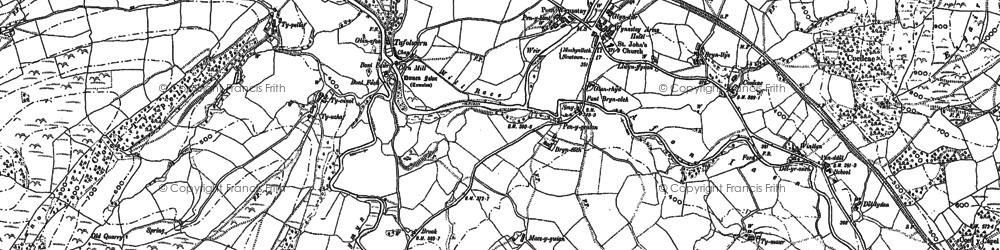 Old map of Afon Rhiw Saeson in 1886