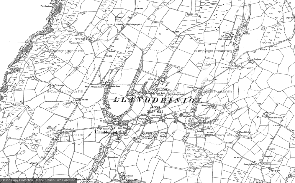 Old Map of Historic Map covering Aelybryn in 1886