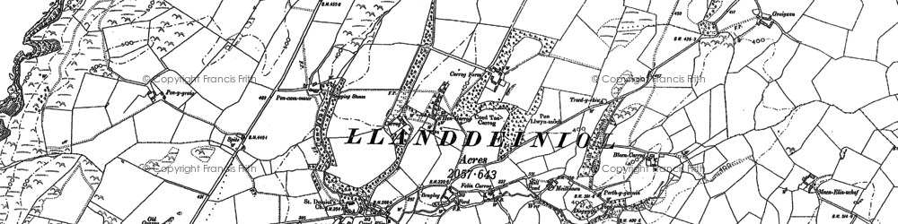 Old map of Aelybryn in 1886