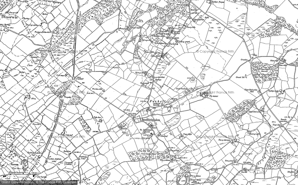Old Map of Historic Map covering Bach yr Hilfry in 1899
