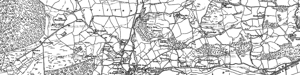 Old map of Llandderfel in 1886