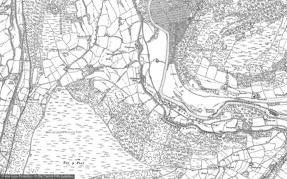 Old Map of Historic Map covering Afon Crawnon in 1885