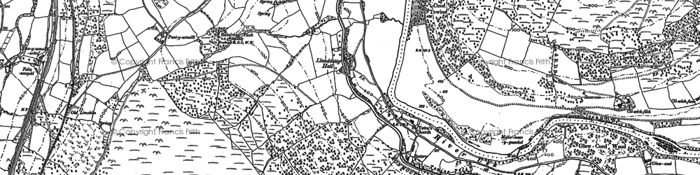 Old map of Afon Crawnon in 1885