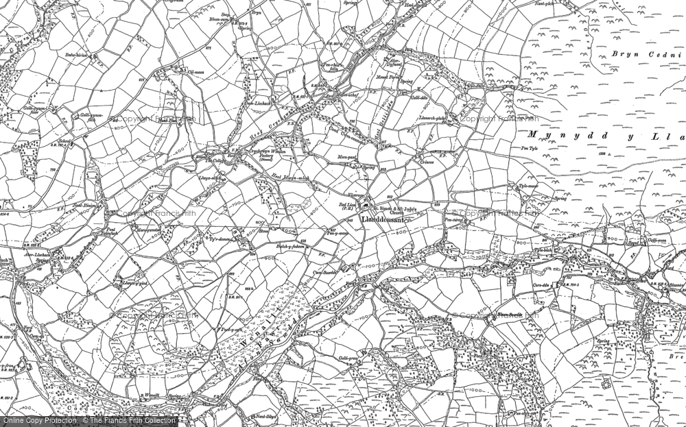 Old Map of Historic Map covering Afon Llechach in 1885