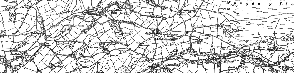 Old map of Afon Llechach in 1885