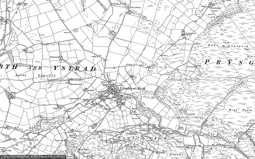 Old Map of Historic Map covering Afon Brefi in 1887