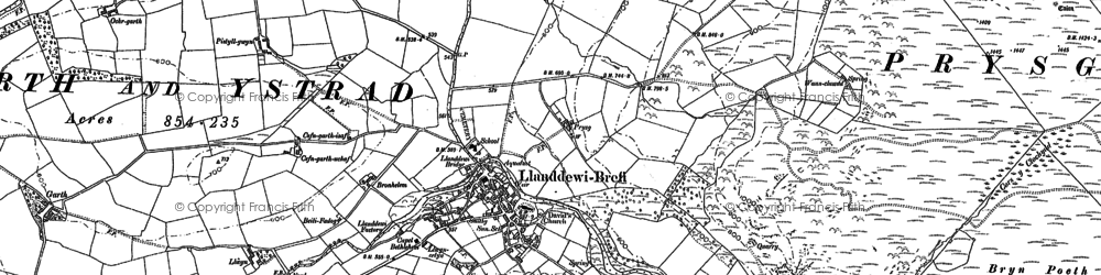 Old map of Banc-y-Gwyngoed in 1887