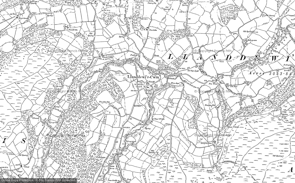 Old Map of Historic Map covering Banc y Celyn in 1903