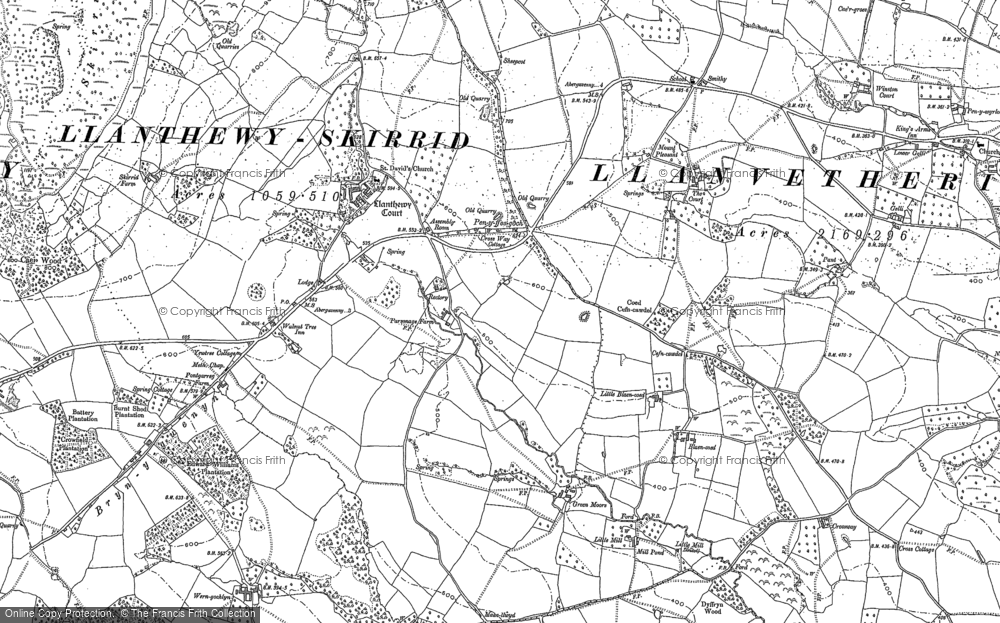 Old Map of Historic Map covering Ysgyryd Fawr in 1899