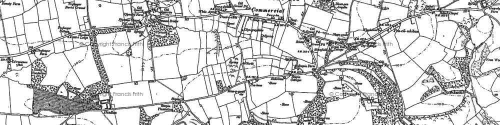 Old map of Llanddewi Velfrey in 1887