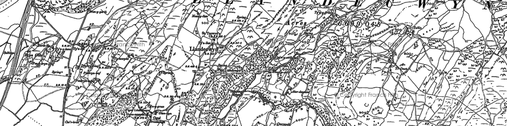 Old map of Y Gyrn in 1887
