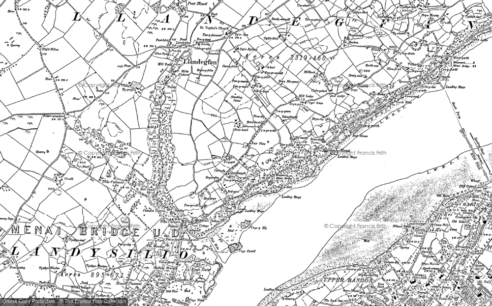 Old Map of Historic Map covering Bangor Pier in 1899