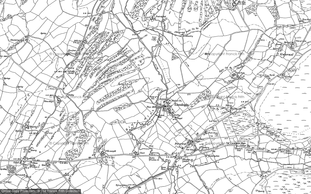Old Map of Historic Map covering Gwernol in 1898