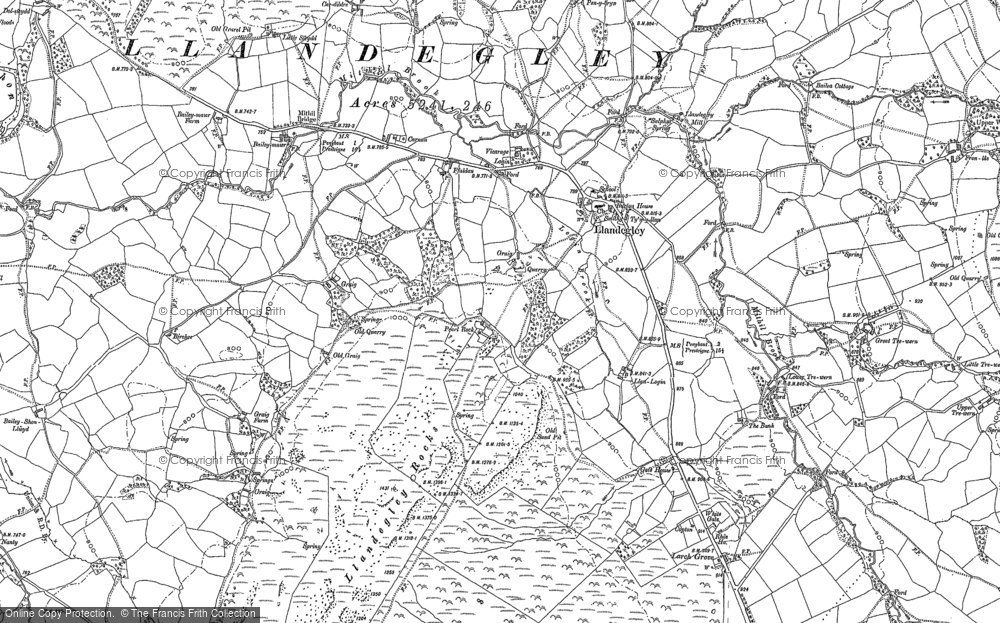 Old Map of Historic Map covering Bailey-mawr in 1887