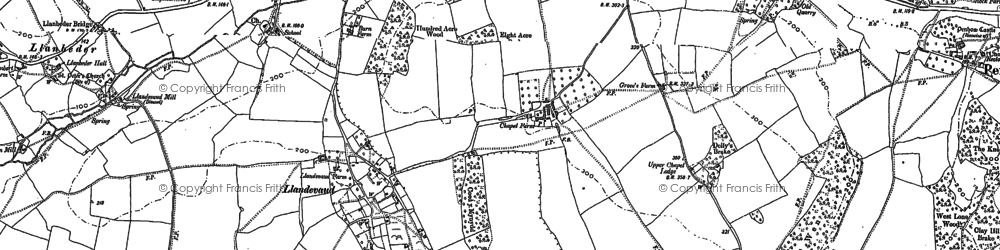 Old map of Llandevaud in 1900