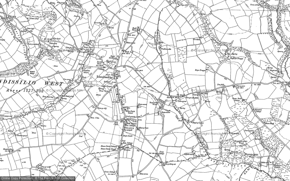 Old Map of Historic Map covering Afon Rhyd-y-bil in 1887