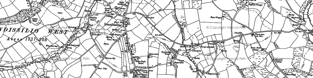 Old map of Afon Rhydybennau in 1887