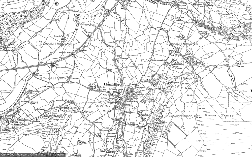 Old Map of Historic Map covering Afon Llynor in 1886