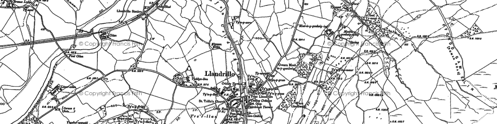 Old map of Afon Llynor in 1886