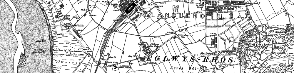 Old map of Llandudno in 1899