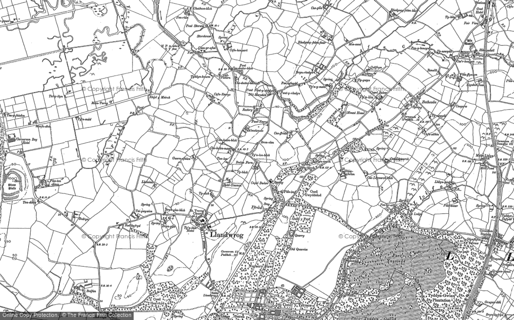 Old Map of Historic Map covering Afon Foryd in 1899