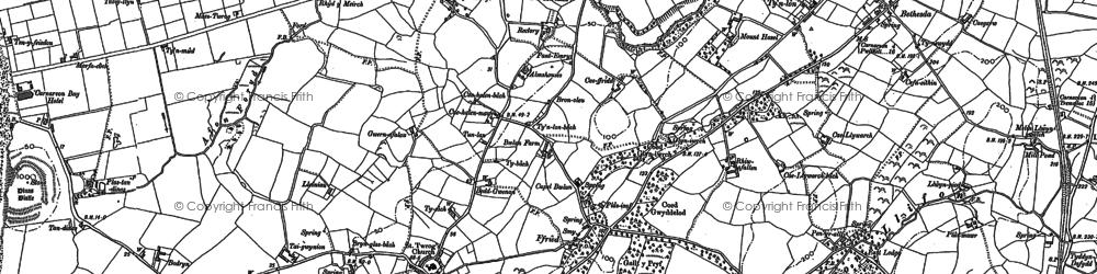 Old map of Llandwrog in 1899