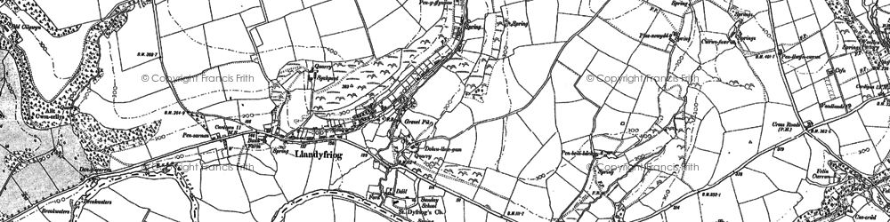 Old map of Afon Teifi in 1887