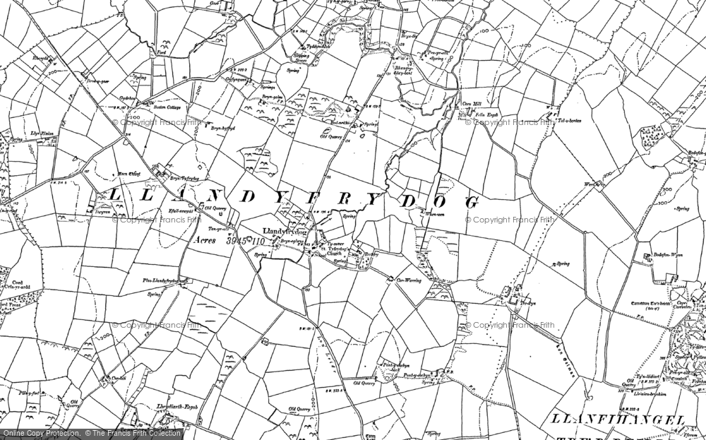 Old Map of Historic Map covering Afon Goch in 1887