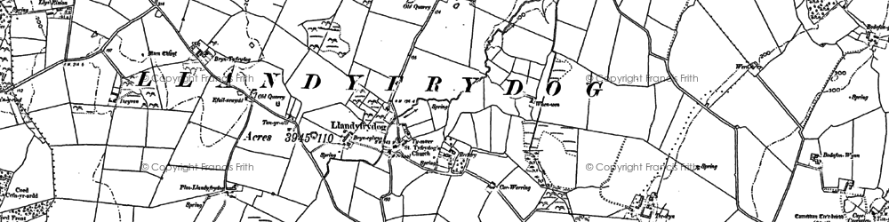 Old map of Afon Goch in 1887