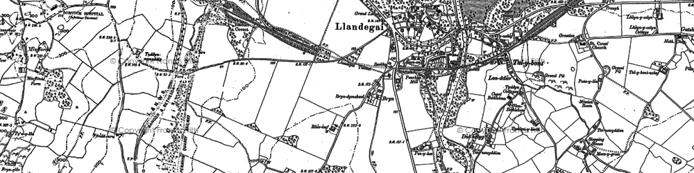 Old map of Llandygai in 1888