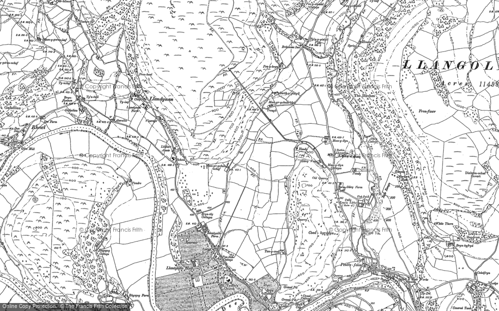Old Map of Historic Map covering Abbey Cottage in 1898