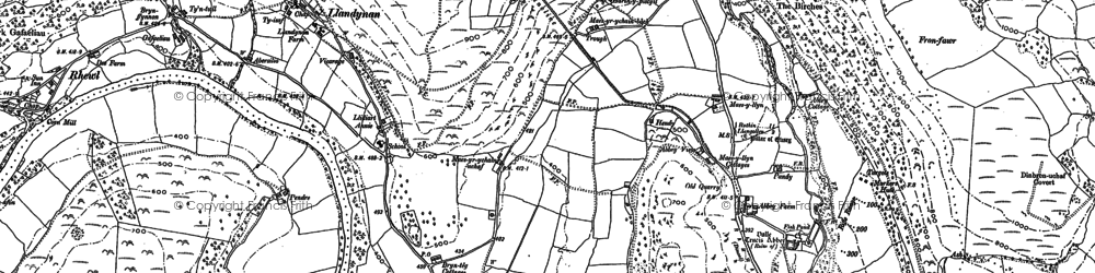 Old map of Valle Crucis Abbey in 1898