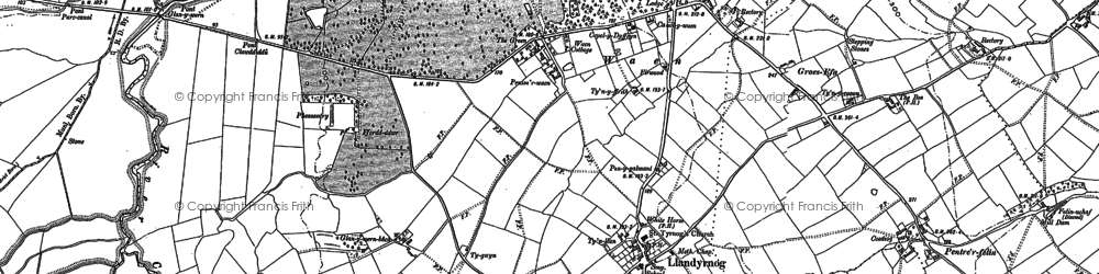 Old map of Aberham in 1910