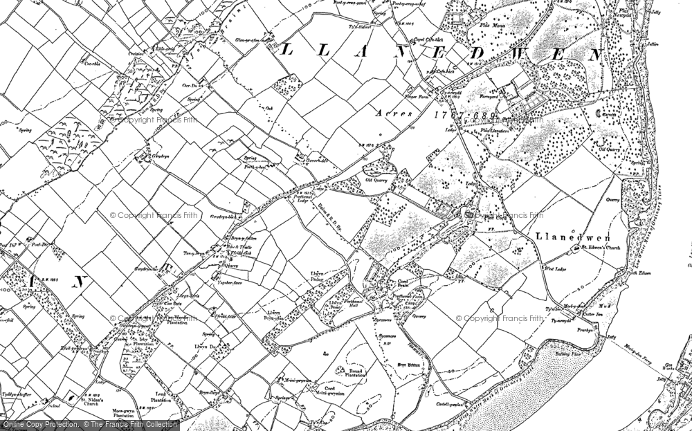 Old Map of Historic Map covering Afon Braint in 1888
