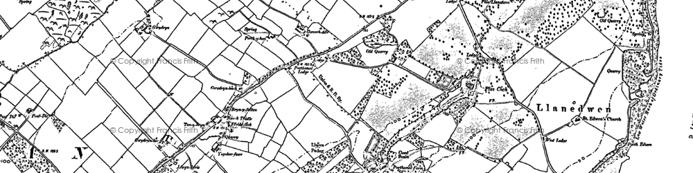 Old map of Afon Braint in 1888