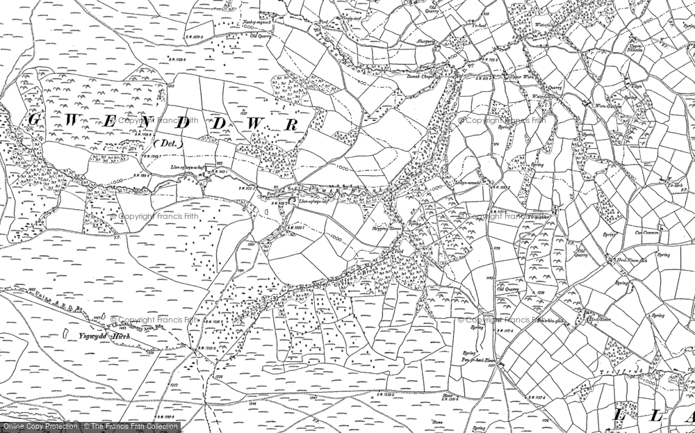 Old Map of Historic Map covering Ysgwydd Hwch in 1887