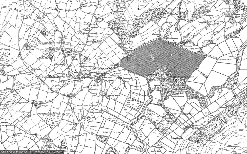 Old Map of Llanegryn, 1900 in 1900