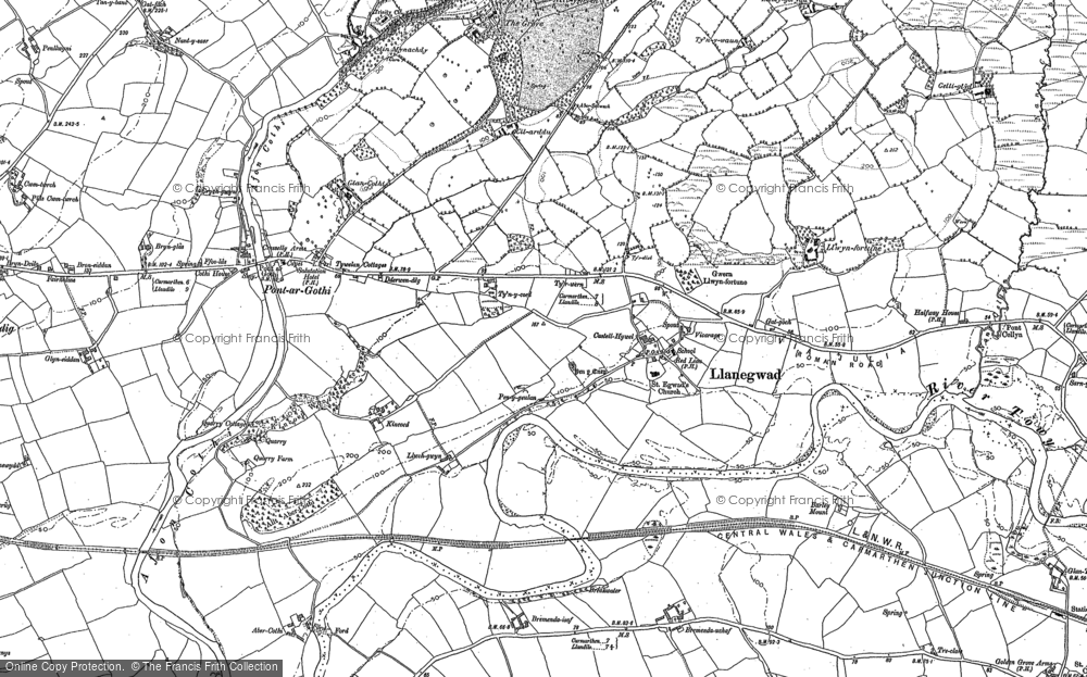 Old Map of Historic Map covering Afon Cothi in 1885
