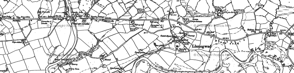 Old map of Afon Cothi in 1885