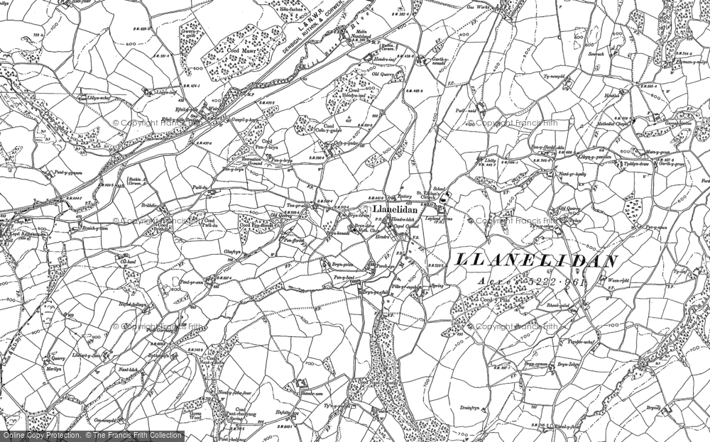 Old Map of Historic Map covering Afon y Maes in 1899