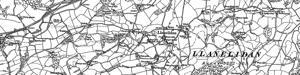 Old map of Llanelidan in 1899