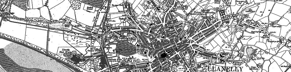 Old map of Llanelli in 1878