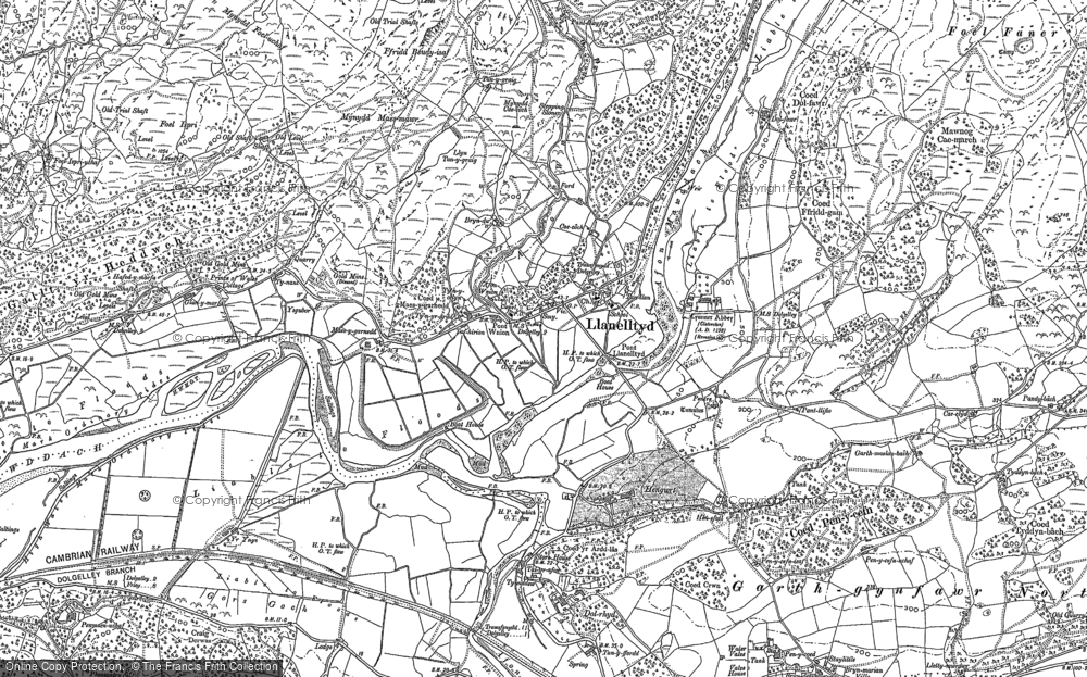 Old Map of Historic Map covering Afon Wnin in 1887