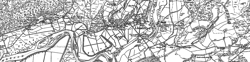Old map of Afon Wnin in 1887