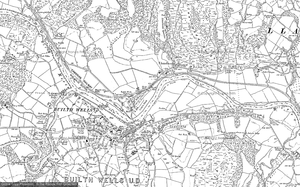 Old Map of Llanelwedd, 1887 - 1903 in 1887