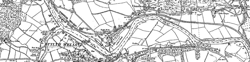 Old map of Llanelwedd in 1887