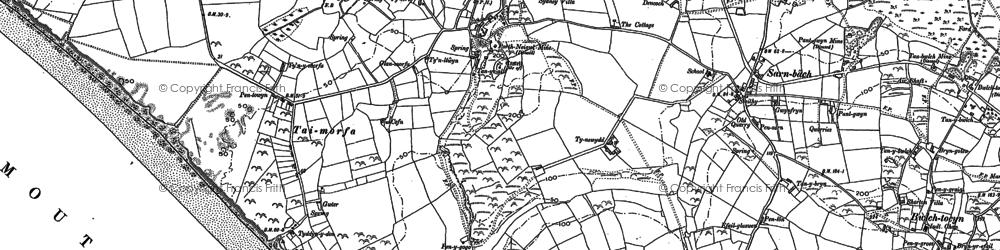 Old map of Llanengan in 1888