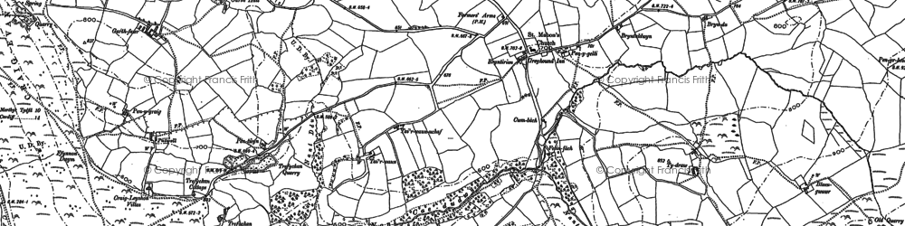 Old map of Llanfabon in 1898