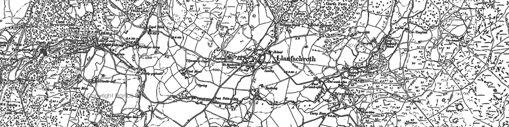 Old map of Afon Wen in 1887
